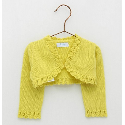 Chaqueta Foque puntas redondas color amarillo limón.