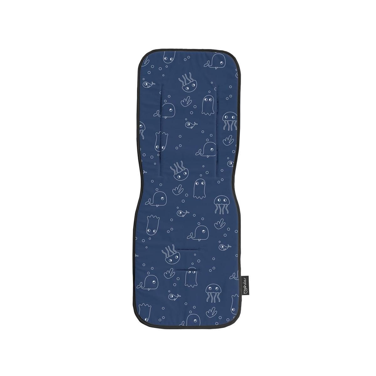 Colchoneta silla de paseo universal Pirulos mod. Medusas color azulón.