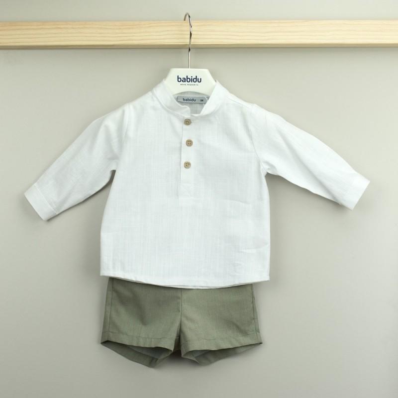 Conjunto Babidu pantalón corto + camisa cuello mao colección Mia.