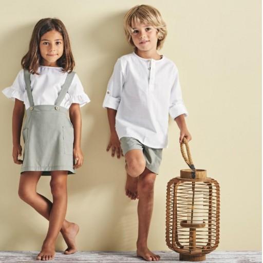 Conjunto Babidu pantalón corto + camisa cuello mao colección Mia. [2]
