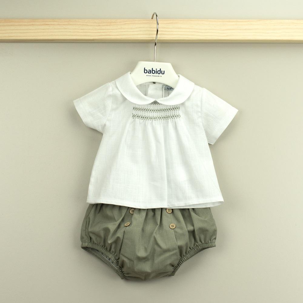 Conjunto Babidu ranita + camisa cuello bebé colección Mia.
