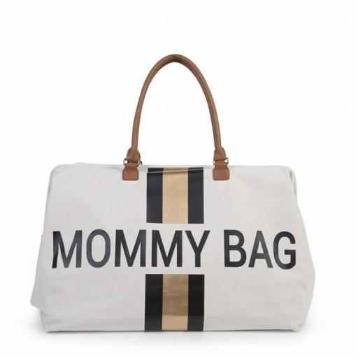 Mommy Bag - Líneas Negras y Doradas - Blanca
