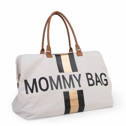 Mommy Bag - Líneas Negras y Doradas - Blanca [1]