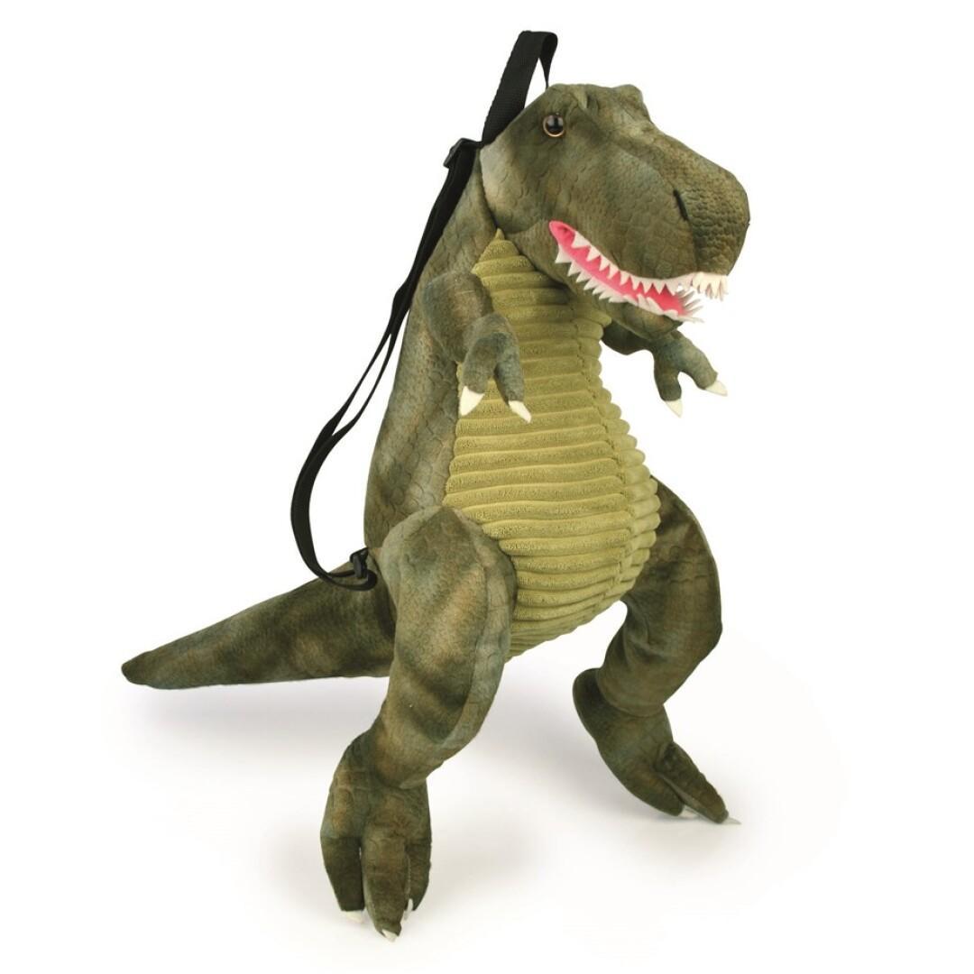 Mochila Dino t-rex con correas ajustables y apertura de cremallera.