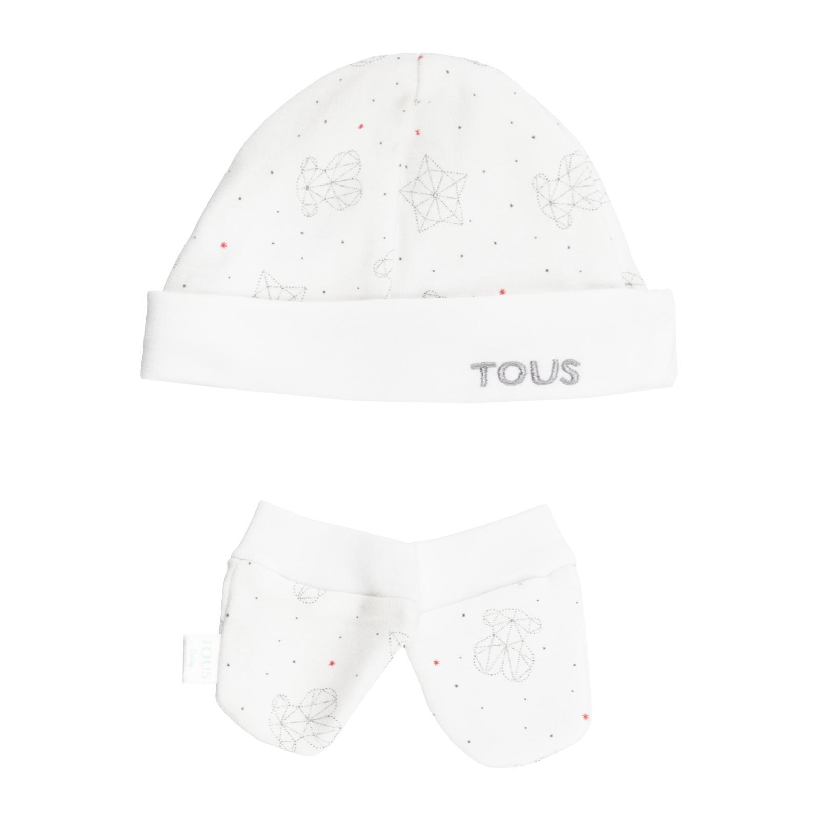 Set gorros y manoplas Baby Tous mod. Galaxy color blanco