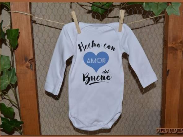 Body bebé mod. Hecho con amor del bueno (azul-negro) [2]