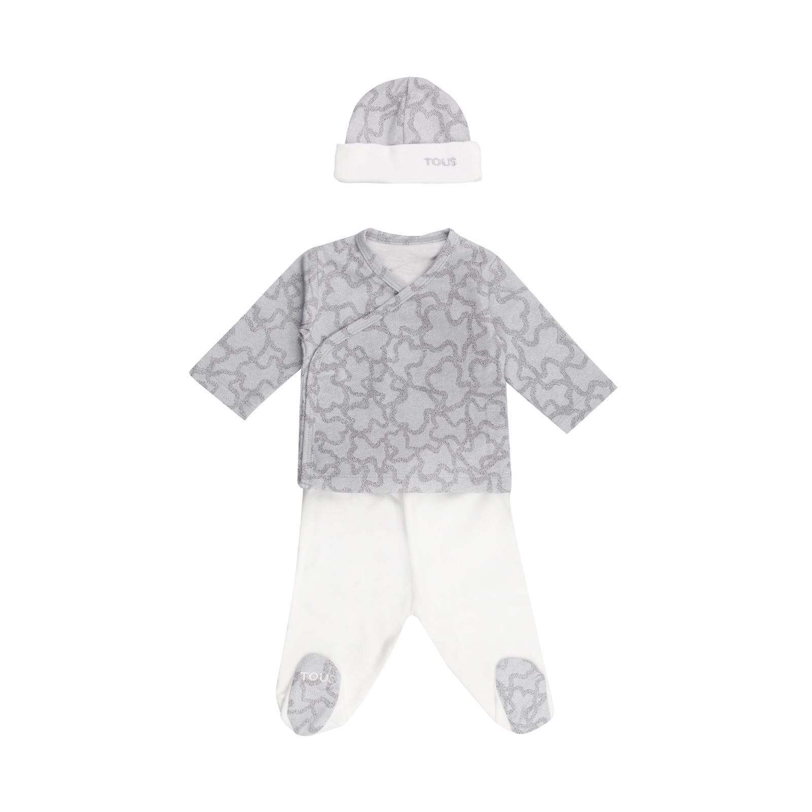 Conjunto recién nacido 3 piezas Baby Tous mod. Hkaos color gris.