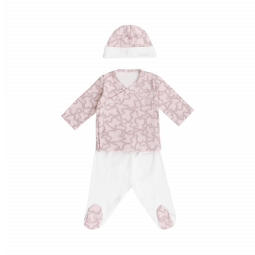 Conjunto recién nacido 3 piezas Baby Tous mod. Hkaos color rosa.