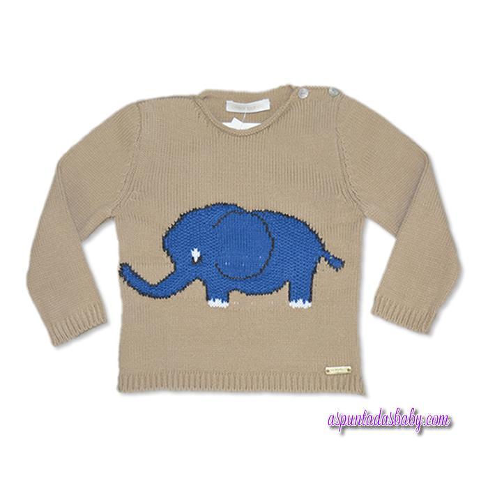 Jersey César Blanco mod. Elefante color camel-marengo.