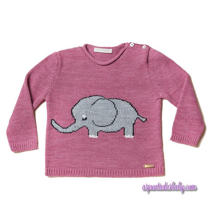 Jersey César Blanco mod. Elefante color ciclamen-marengo.