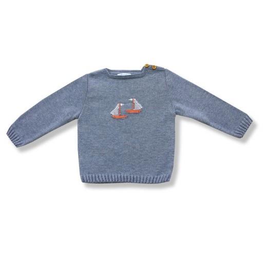 Jersey Foque Con Escote En Links Y Dibujo Barcos De Vela En Centro Color Jeans
