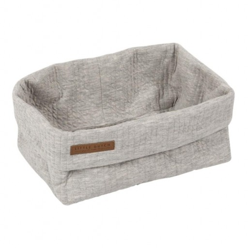 Cesta almacenamiento grande Little Dutch color gris.