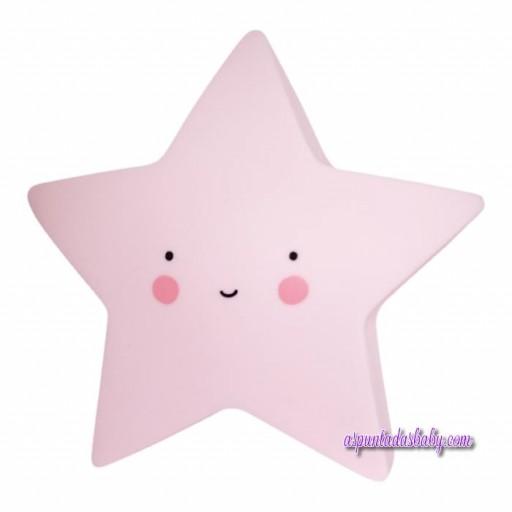 Mini Lámpara Estrella Rosa - 14 cms.