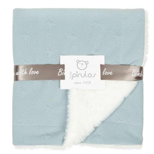 Manta de pelo New Stars de Pirulos color azul-blanco
