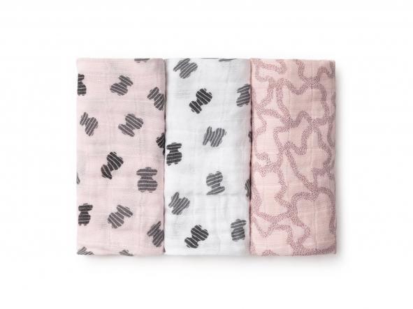 Set de 3 Mini Muselinas Baby Tous mod.  MMuse color rosa.