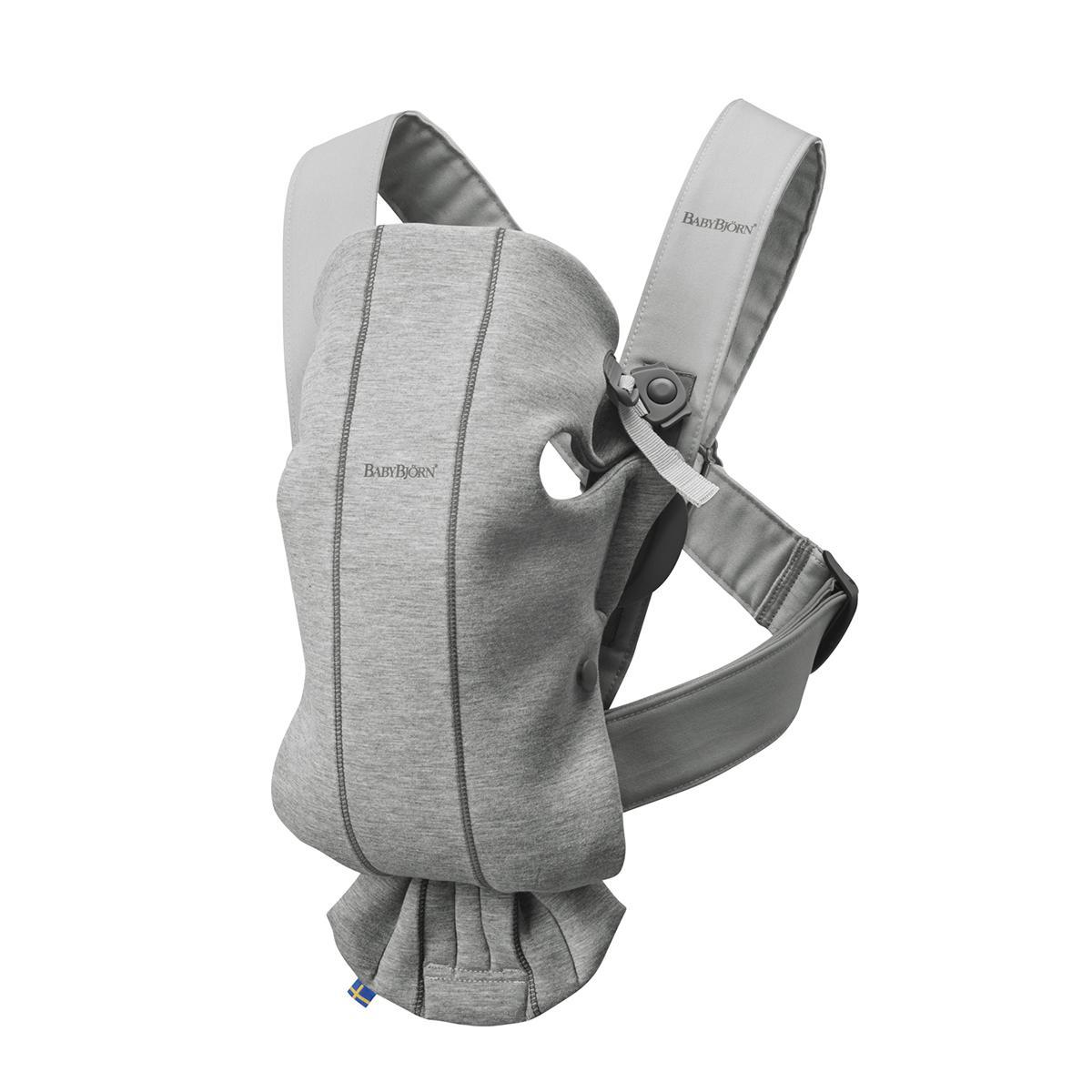 Mochila BabyBjörn Porta Bebé Mini, Gris Claro, 3D, Jersey