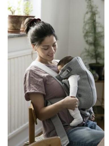Mochila BabyBjörn Porta Bebé Mini, Gris Claro, 3D, Jersey [1]