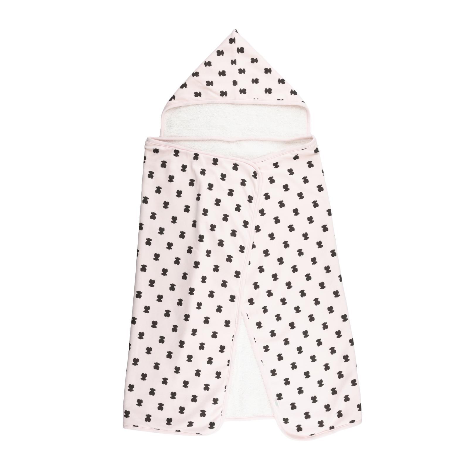 Capa de Baño Capucha Baby Tous mod. MuBear color rosa.