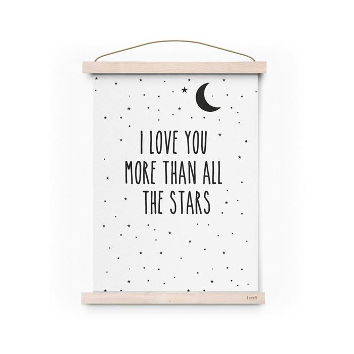 Póster A3 Love More Than All The Stars by Eef Lillemor