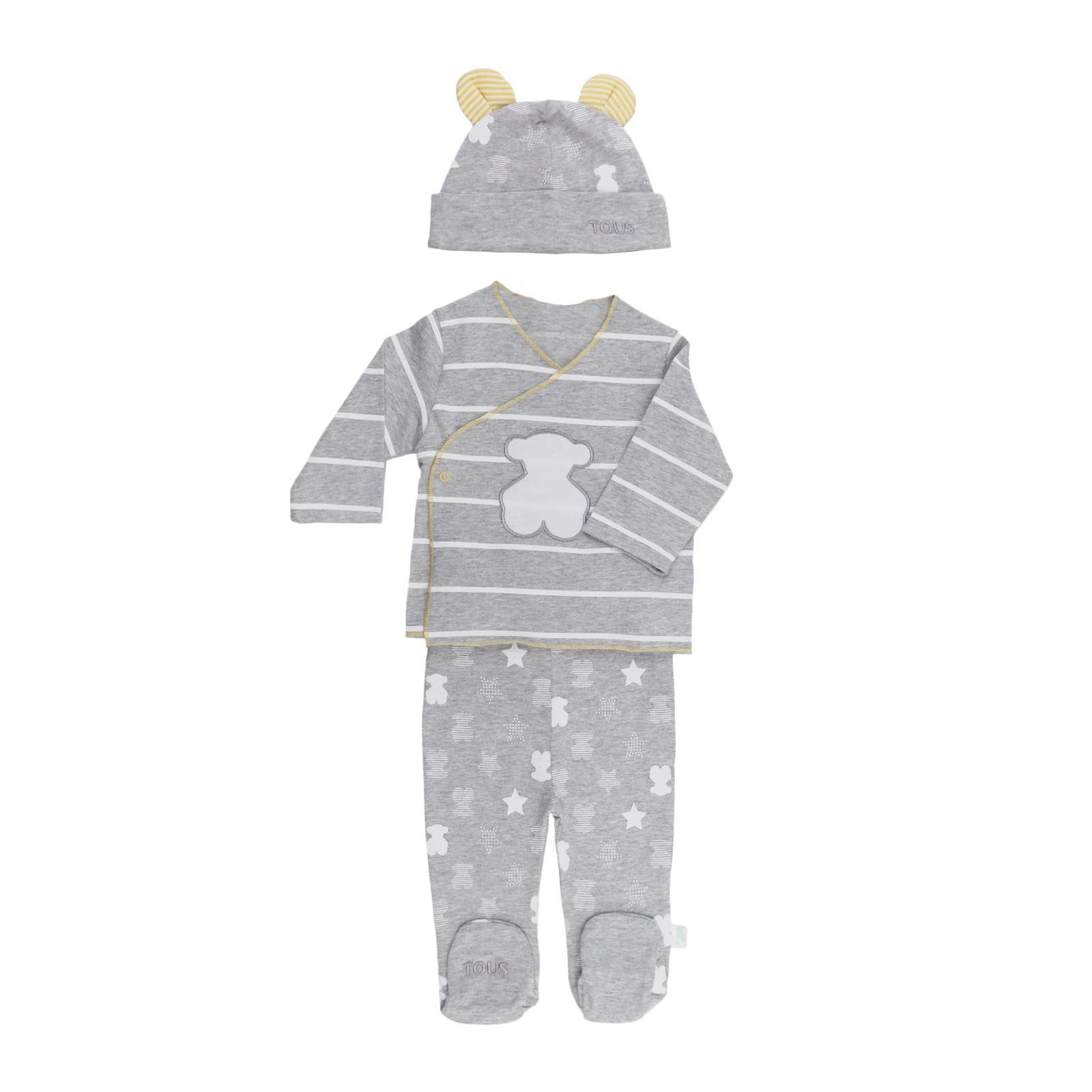 Conjunto recién nacido Baby Tous mod. SBear color gris.