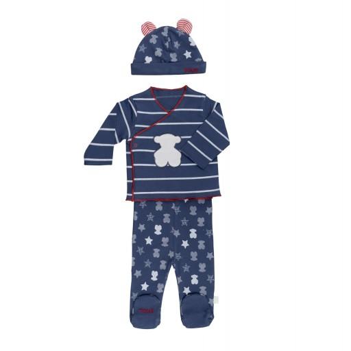 Conjunto recién nacido Baby Tous mod. SBear color azul marino.