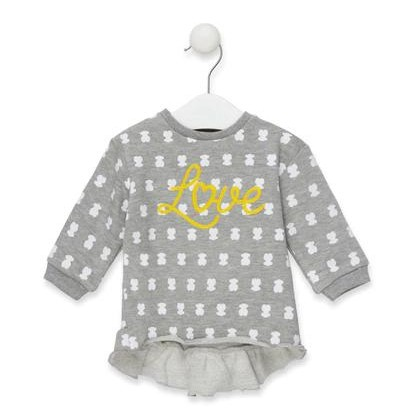 """Sudadera Casual  Baby Tous  """"Love"""" Gris"""
