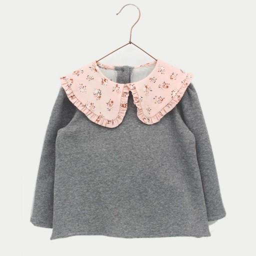 Sudadera Foque niña con cuello colección Botánico color gris oscuro.