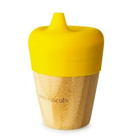 Vaso de Bambú Eco Rascals color Amarillo con Tapa 190ml