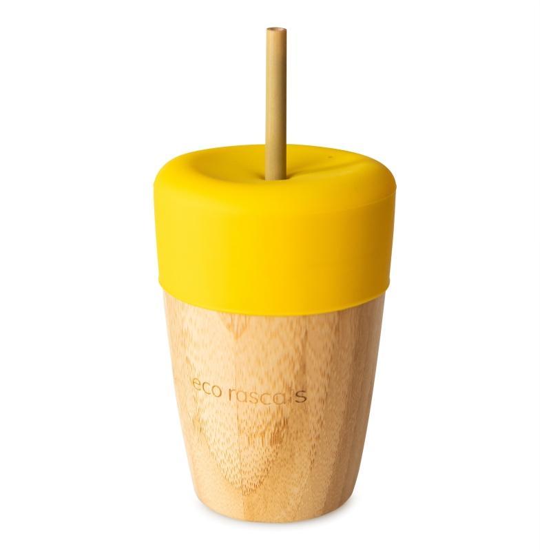 Vaso de Bambú Eco Rascals 240 ml + Tapa + 2 Pajitas color Amarillo