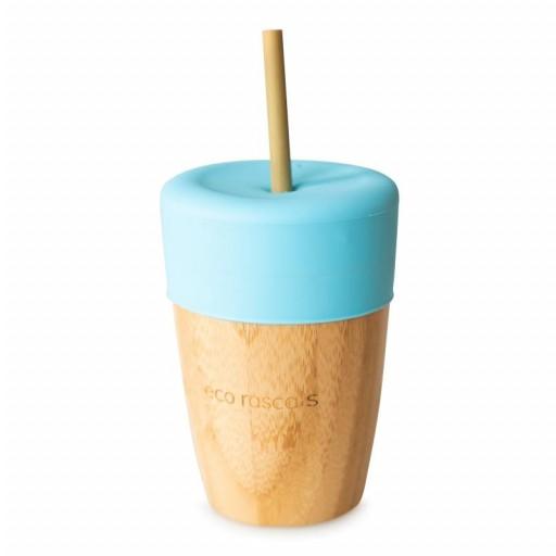 Vaso de Bambú Eco Rascals 240 ml + Tapa + 2 Pajitas color azul