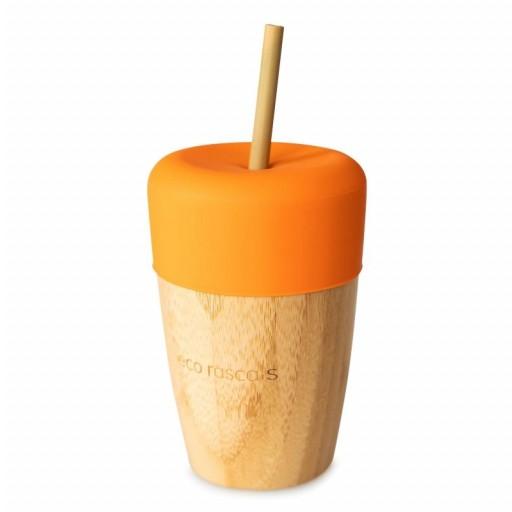 Vaso de Bambú Eco Rascals 240 ml + Tapa + 2 Pajitas color naranja.