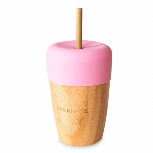 Vaso de Bambú Eco Rascals 240 ml + Tapa + 2 Pajitas color rosa.