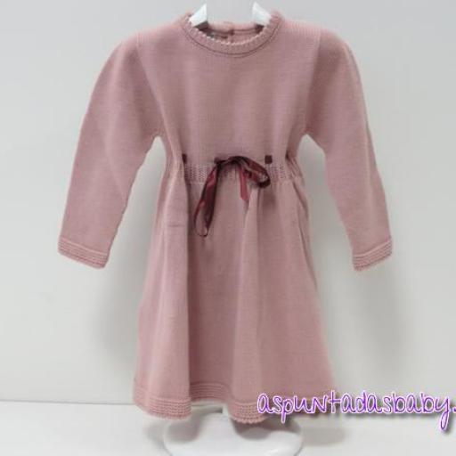 """Vestido """"Ancar"""" punto color rosa empolvado"""
