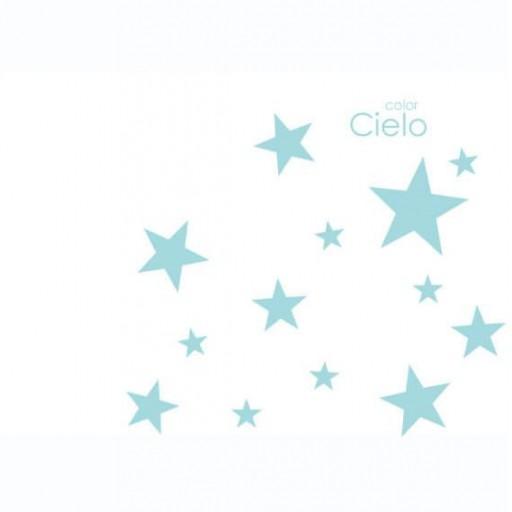 Vinilo Estrellas mix colores: blanco / azul cielo / rosa / gris claro [1]