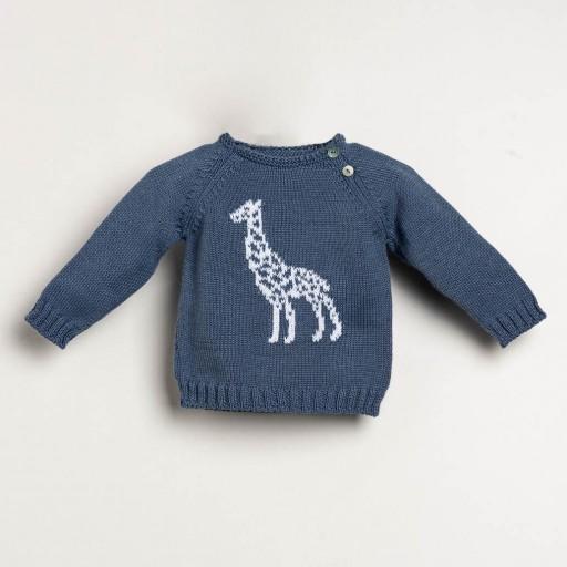 Jersey Ancar jirafa color azul plomo.