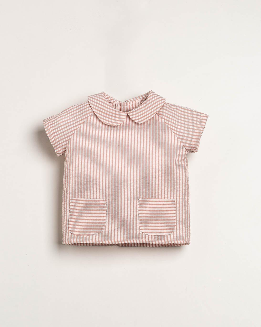 Camisa Ancar rayas seersucker color rosa.