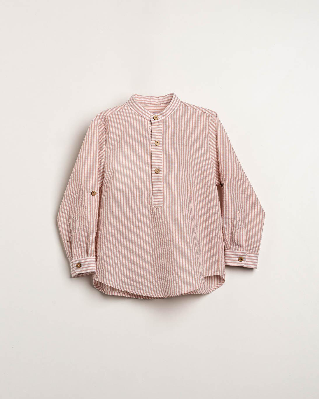 Camisa Ancar niño rayas rosas seersucker.