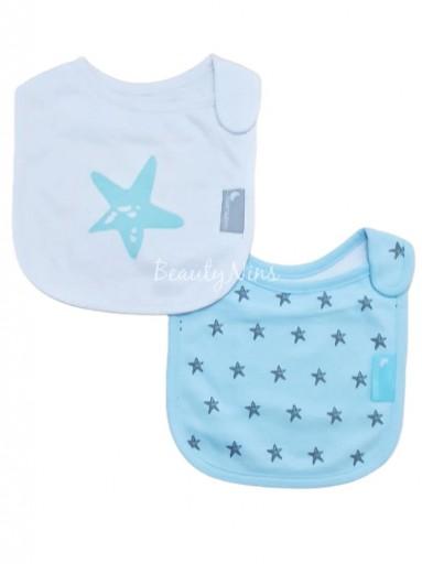 Pack 2 baberos bebé STAR AZUL
