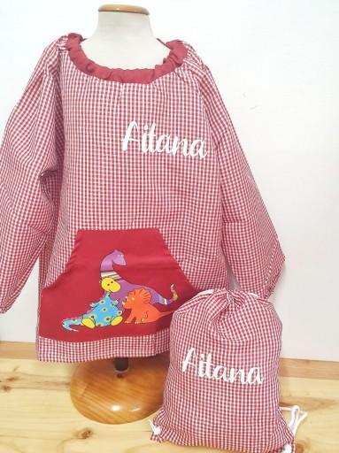 Babi con bolsillo central DINOS rosa [1]