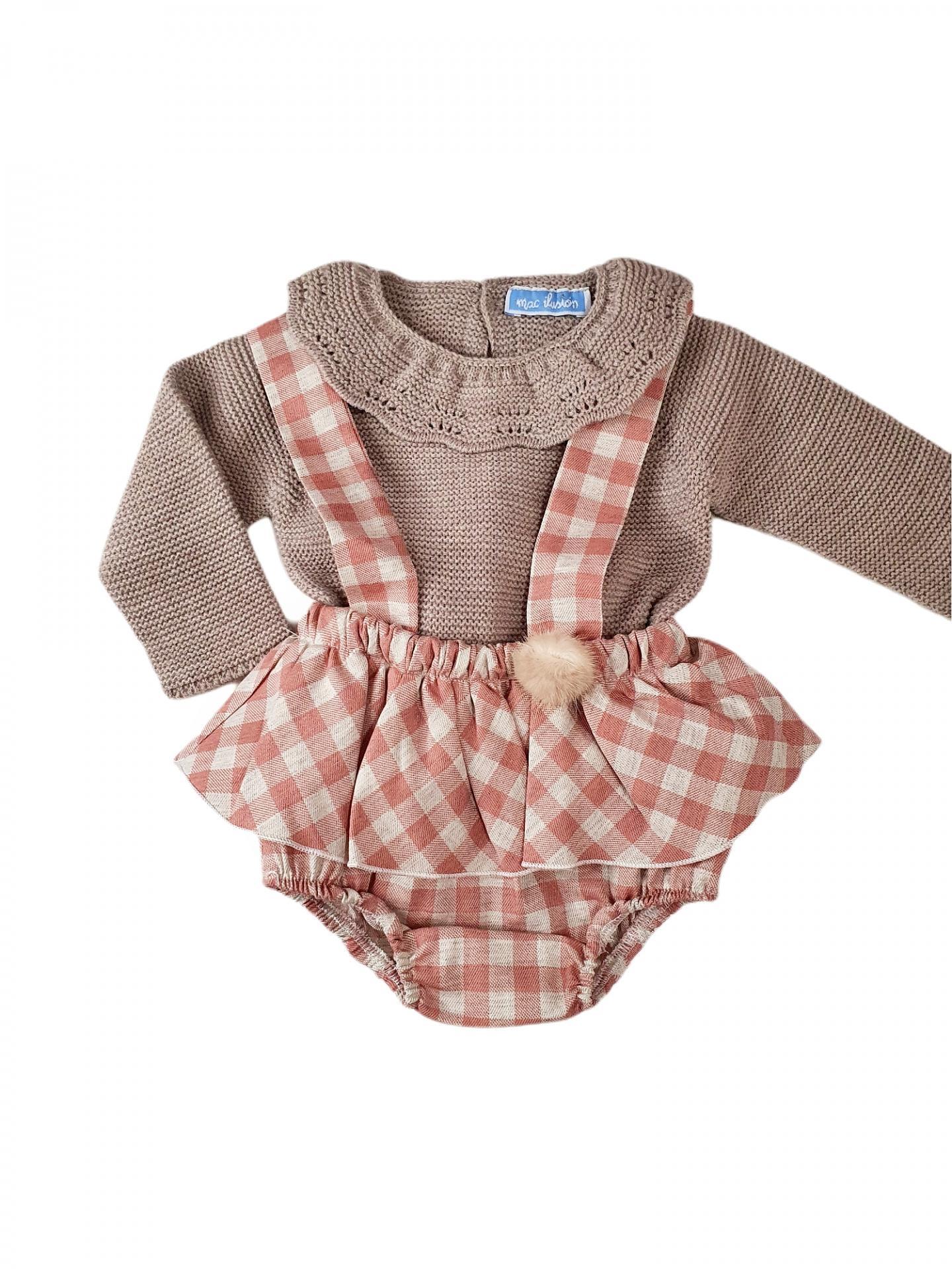 Peto con faldita + jersey bebé POMPOM & SQUARES