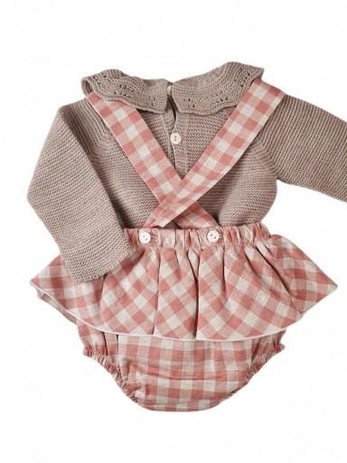 Peto con faldita + jersey bebé POMPOM & SQUARES [1]