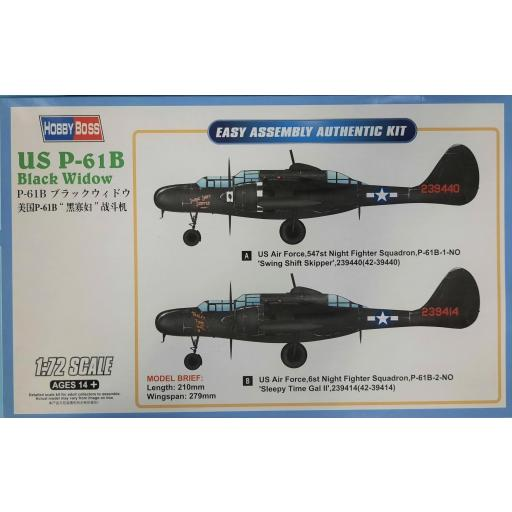 1/72 US P-61 B Black Widow. Easy Assembly Authentic Kit