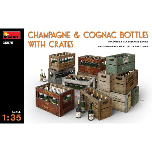 1/35 Champagne & Cognac Bottles with Crates
