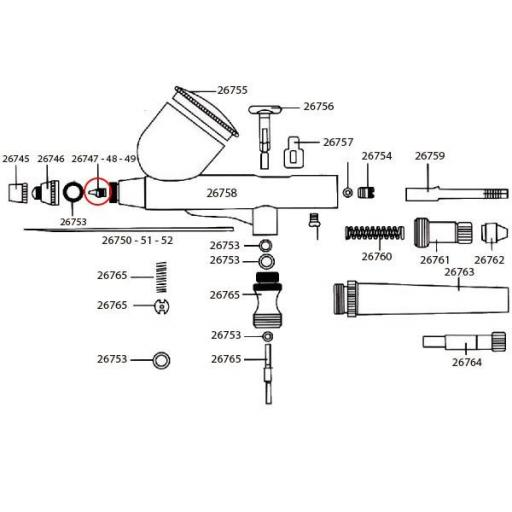 Obturador aerógrafo 0,2 mm