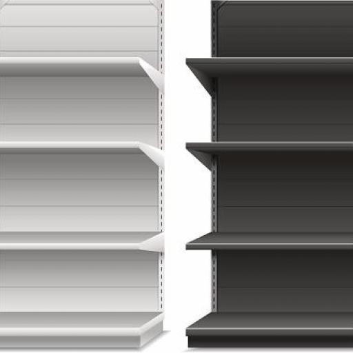 Estantería gris trasera chapa lisa a pared [2]