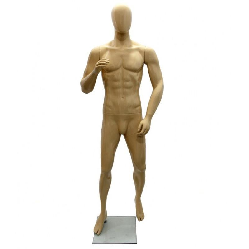 Maniquí hombre de fibra sin rostro, color carne
