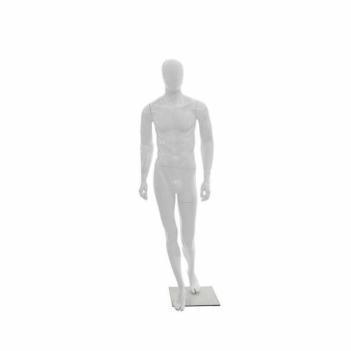Maniquí hombre de fibra sin rostro, color blanco