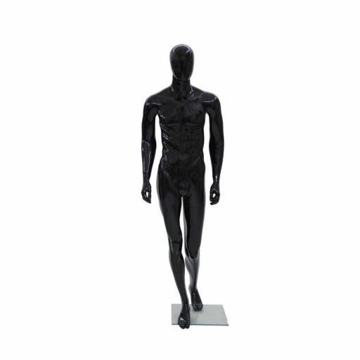 Maniquí hombre de fibra sin rostro, color negro
