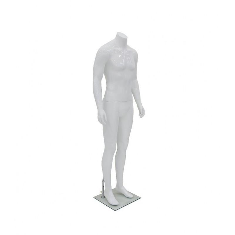 Maniquí hombre de fibra sin rostro, color blanco sin cabeza