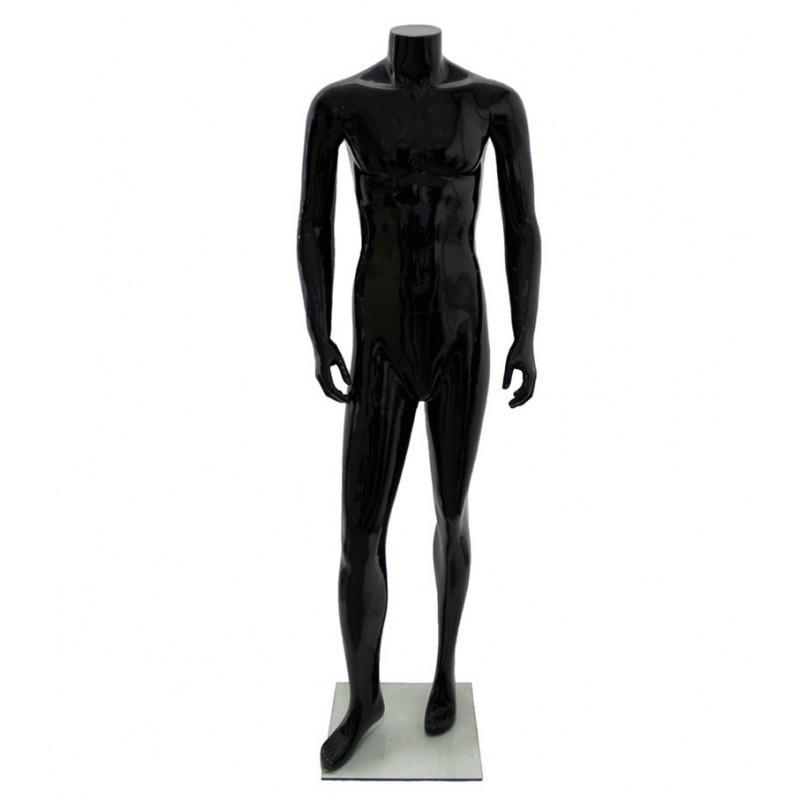 Maniquí hombre de fibra sin rostro, color negro sin cabeza